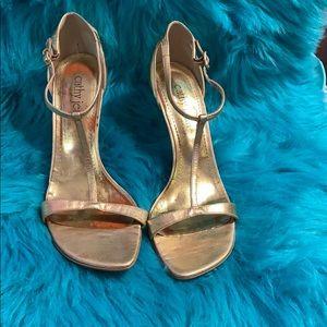 Cathy Jean EUC T-strap metallic heel